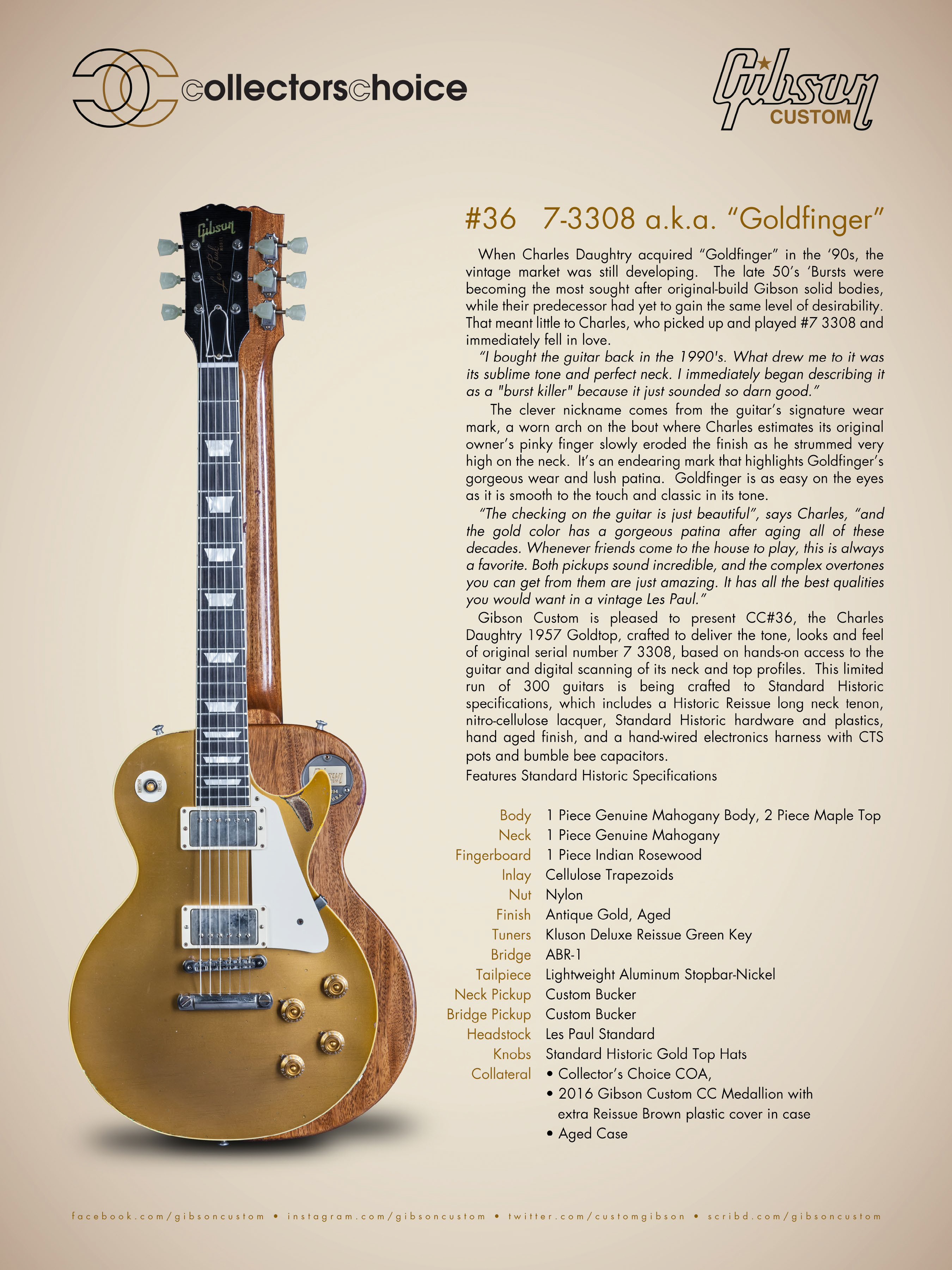 Gibson Collector's Choice #36 Charles Daughtry '57 Goldtop