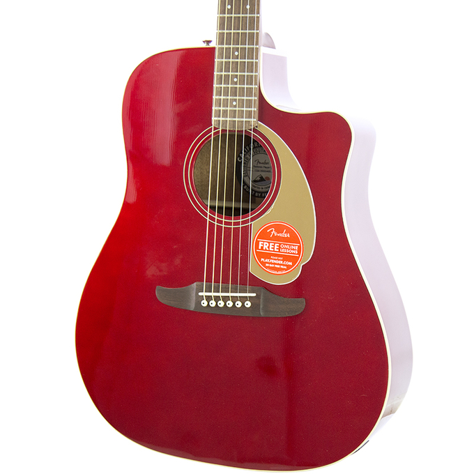 Brand New Fender Redondo Player Candy Apple Red Acoustic Electric Guitar