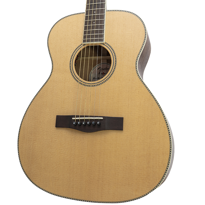 Fender PM-TE Paramount Travel Standard, Natural Acoustic Electric Guitar w/ Hardshell Case